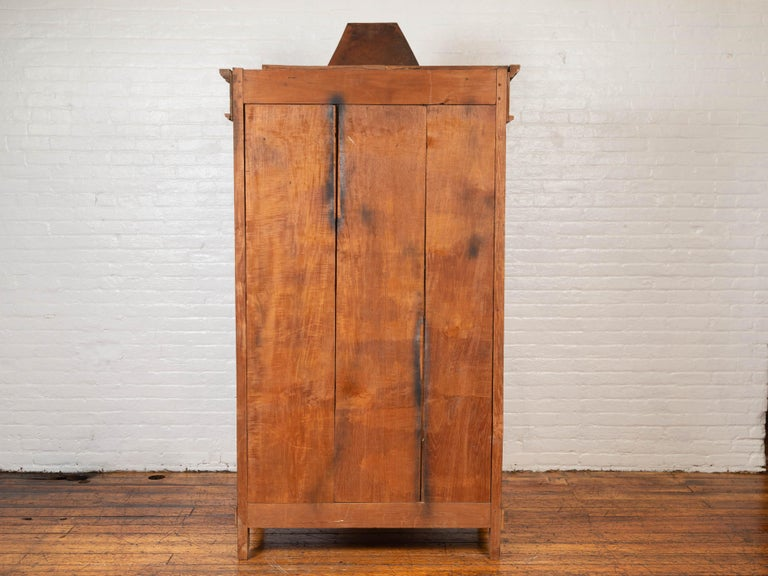 Antique Dutch Colonial Armoire with Low-Relief Carved Painted Birds and Foliage For Sale 1