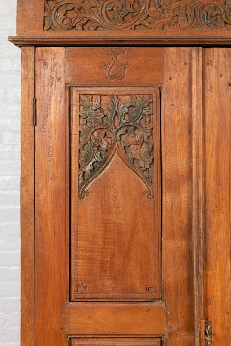 Antique Dutch Colonial Armoire with Low-Relief Carved Painted Birds and Foliage For Sale 2