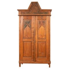 Antique Dutch Colonial Armoire with Low-Relief Carved Painted Birds and Foliage