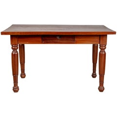 Antique Dutch Colonial Javanese Teak Desk with Single Drawer and Turned Legs