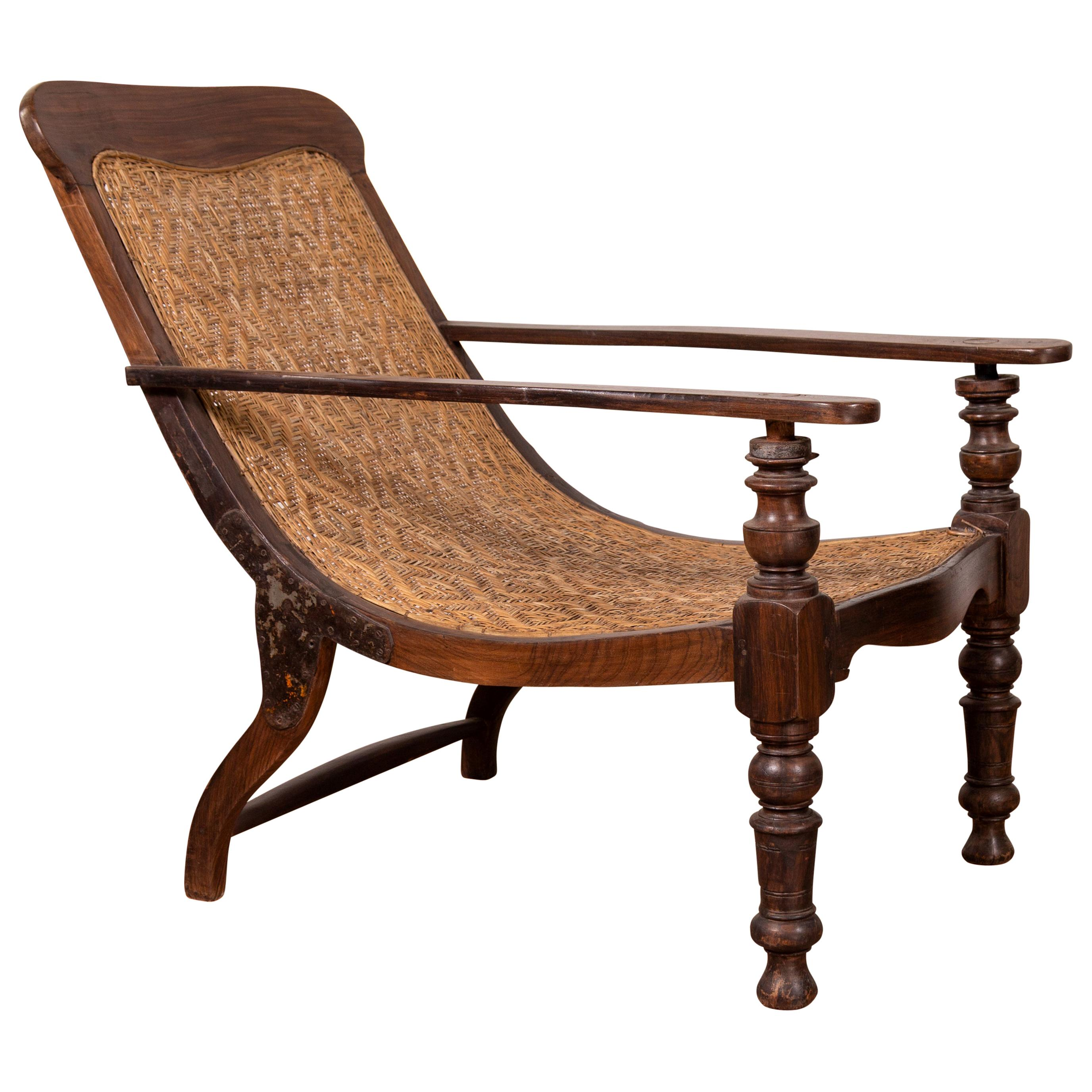 Incredible Antique Dutch Colonial Plantation Lounge Chair With Woven Rattan Seat And Back Gmtry Best Dining Table And Chair Ideas Images Gmtryco