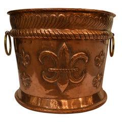 Antique Dutch Copper Repousse Planter