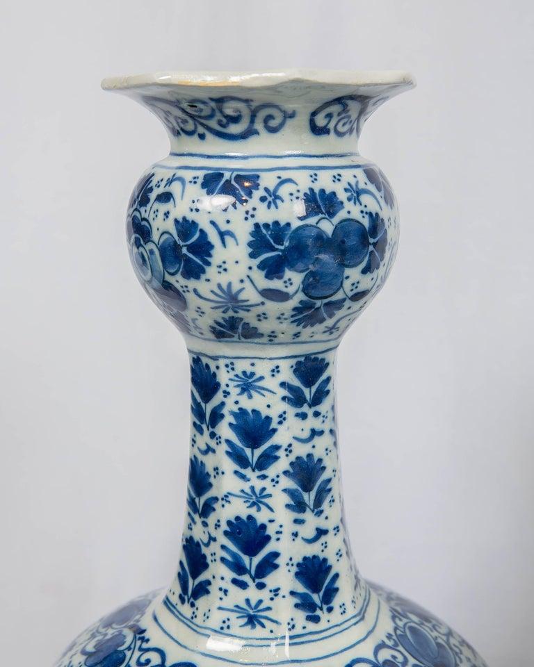 Antique Dutch Delft Blue and White Three Piece Garniture Made 1700-1716 For Sale 6