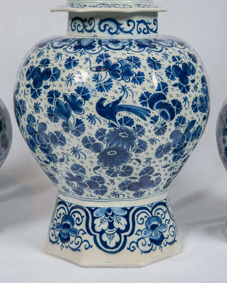 Hand-Painted Antique Dutch Delft Blue and White Three Piece Garniture Made 1700-1716 For Sale