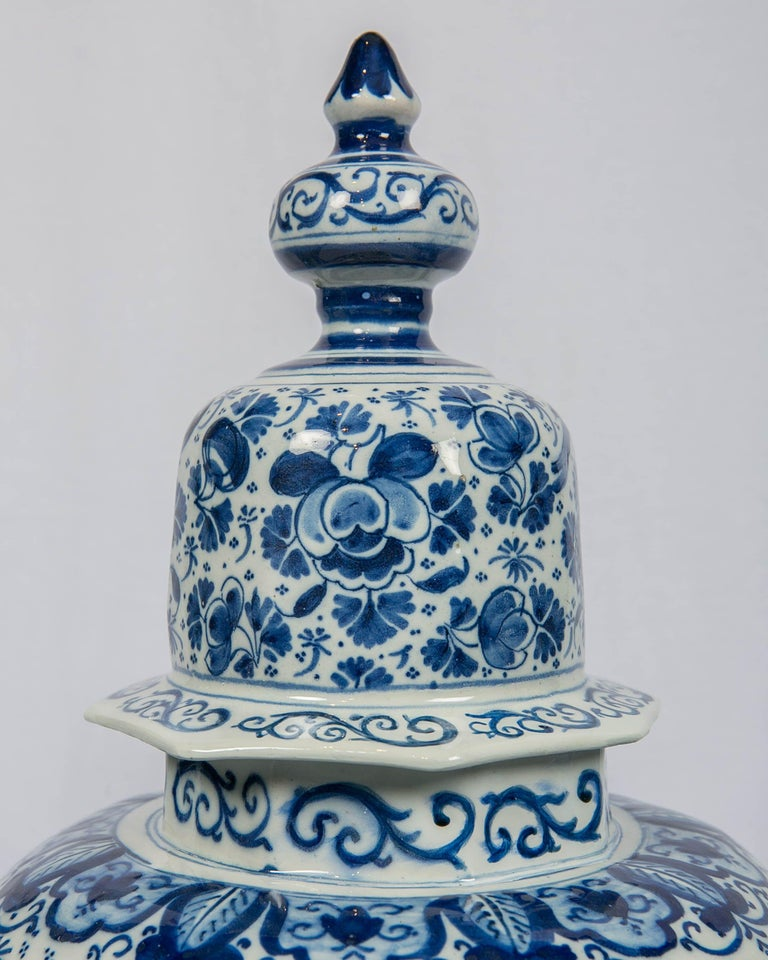18th Century Antique Dutch Delft Blue and White Three Piece Garniture Made 1700-1716 For Sale