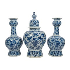 Antique Dutch Delft Blue and White Three Piece Garniture Made 1700-1716