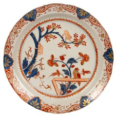 Antique Dutch Delft Charger Decorated with Monkeys Painted in Imari Style Colors