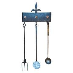 Antique Dutch Fireplace Tool Set, Fire Tools, 17th Century
