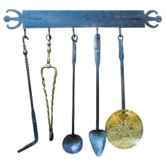 Antique Dutch Fireplace Tool Set, Fire Tools, 18th-19th Century
