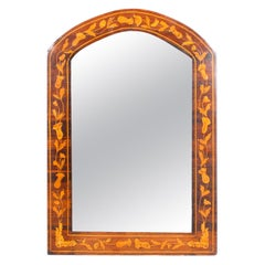 Antique Dutch Flame Mahogany and Floral Marquetry Wall Mirror, 19th Century