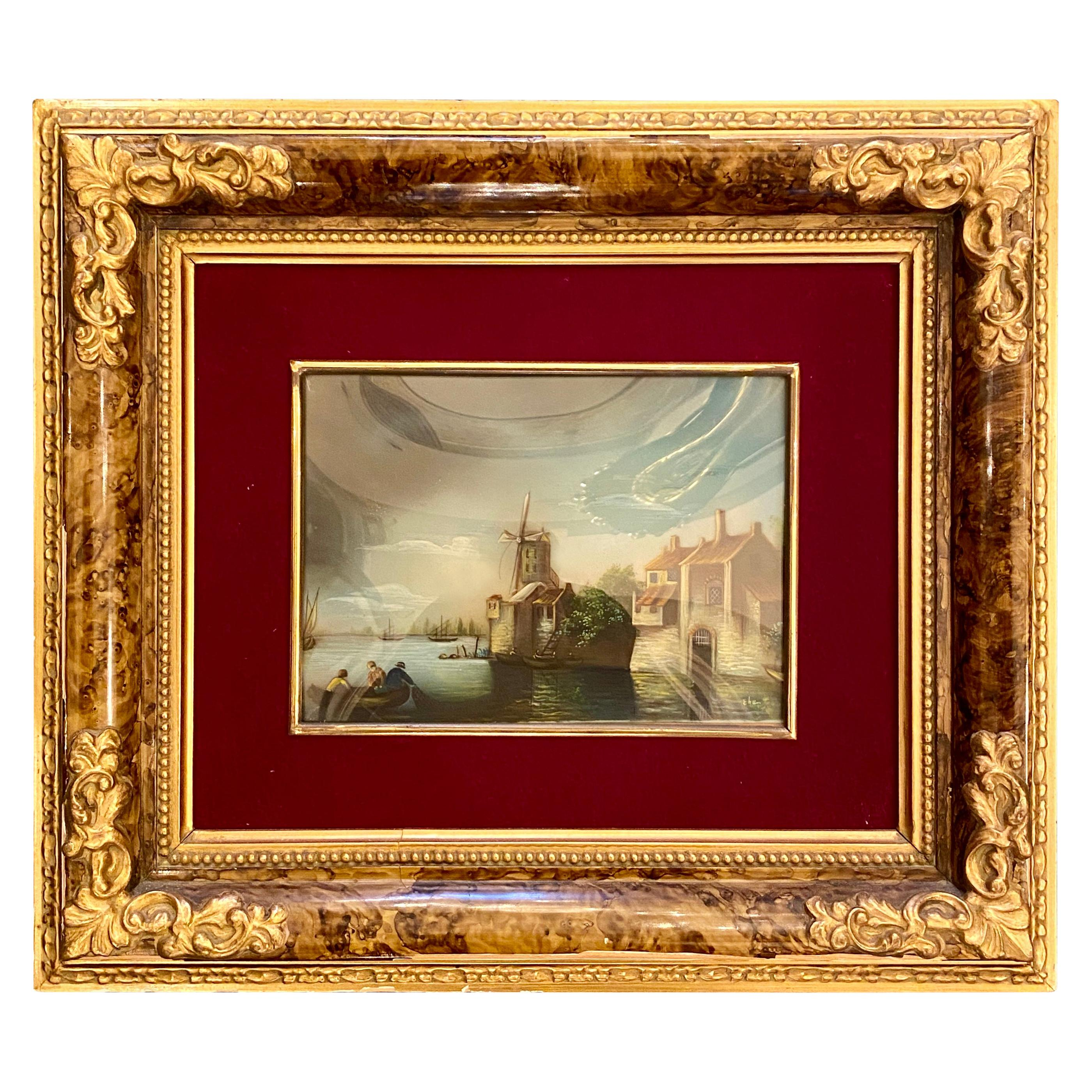Antique Dutch Framed Goache Watercolor on Card Harbor Scene Painting circa 1860s