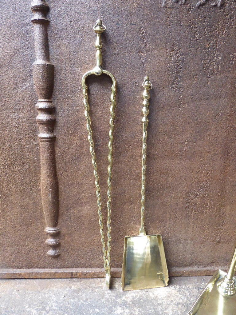 19th Century Antique Dutch Georgian Fireplace Tools or Fire Tools For Sale