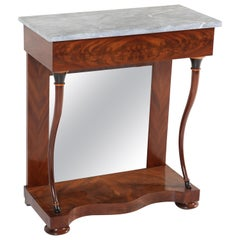 Antique Dutch Mahogany Biedermeier Console Table with Marble Top, 1830s