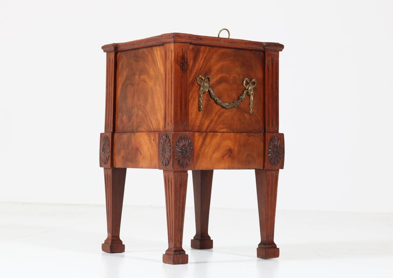 Brass Antique Dutch Mahogany Louis XVI Jardinière or Wine Cooler, 1790s For Sale