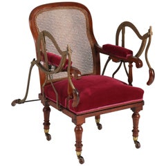 Antique Dutch Mahogany Victorian Armchair or Stretcher by Simonis Amsterdam
