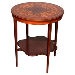 Antique Dutch Marquetry Hepplewhite Style Mahogany and Satinwood Side Table
