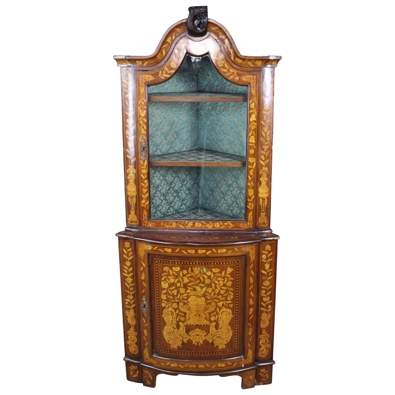 Antique Dutch Marquetry Inlaid Walnut 19th Century Corner Cabinet Cupboard
