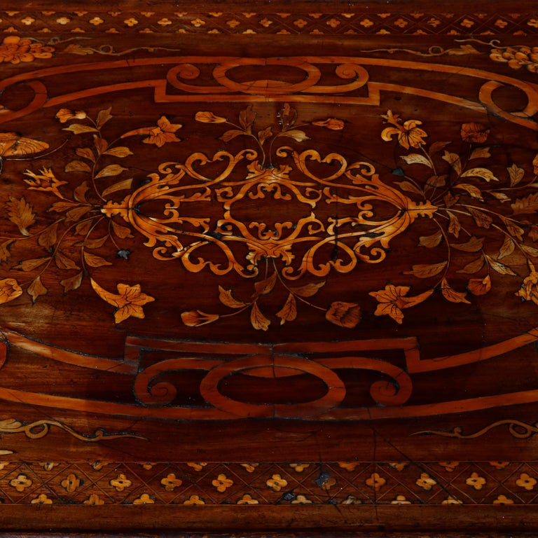 Antique Dutch Marquetry Table, Carved Walnut with Grape & Leaf Design Inlay 1800 For Sale 6