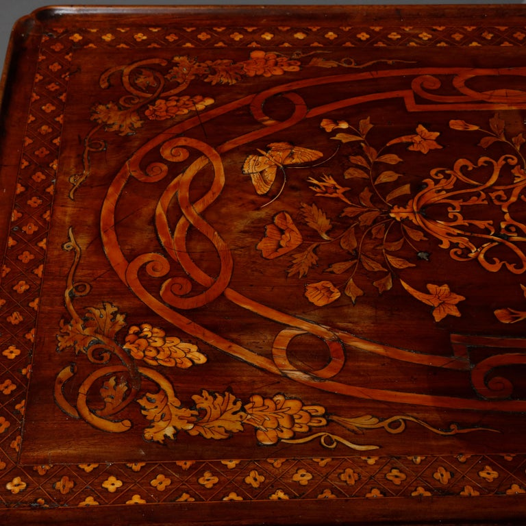 Antique Dutch Marquetry Table, Carved Walnut with Grape & Leaf Design Inlay 1800 For Sale 7