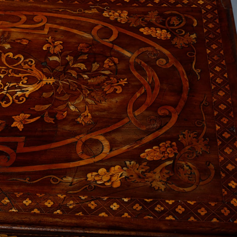 Antique Dutch Marquetry Table, Carved Walnut with Grape & Leaf Design Inlay 1800 For Sale 8