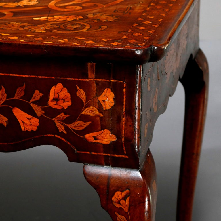 Antique Dutch Marquetry Table, Carved Walnut with Grape & Leaf Design Inlay 1800 For Sale 9