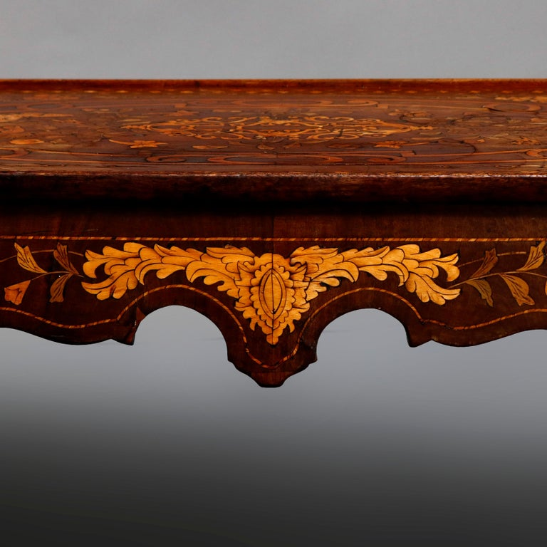 Antique Dutch Marquetry Table, Carved Walnut with Grape & Leaf Design Inlay 1800 In Good Condition For Sale In Big Flats, NY