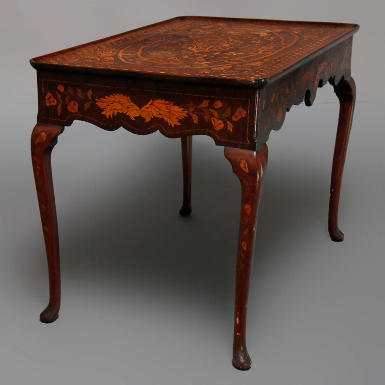 Satinwood Antique Dutch Marquetry Table, Carved Walnut with Grape & Leaf Design Inlay 1800 For Sale