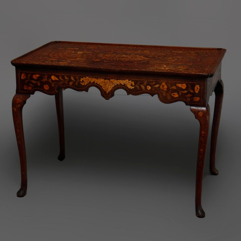 Antique Dutch Marquetry Table, Carved Walnut with Grape & Leaf Design Inlay 1800 For Sale 1