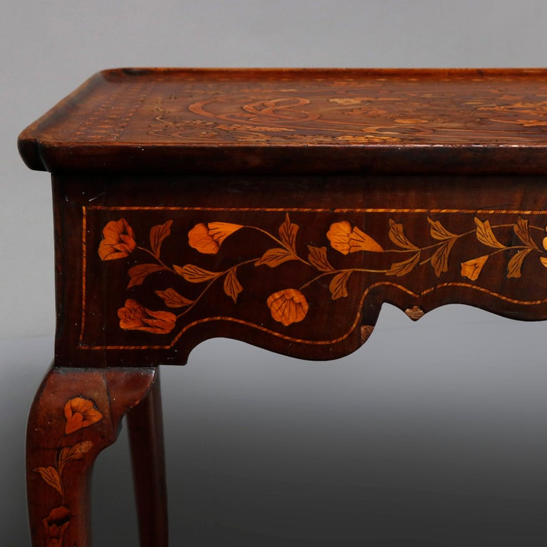 Antique Dutch Marquetry Table, Carved Walnut with Grape & Leaf Design Inlay 1800 For Sale 2