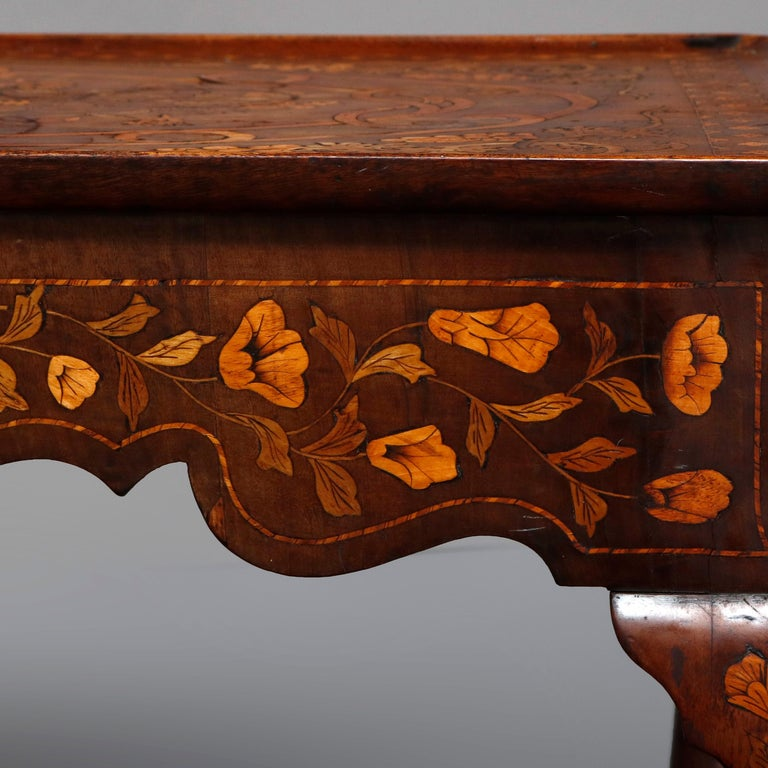 Antique Dutch Marquetry Table, Carved Walnut with Grape & Leaf Design Inlay 1800 For Sale 4