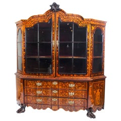 Antique Dutch Marquetry Walnut Display Cabinet Vitrine 19th Centry