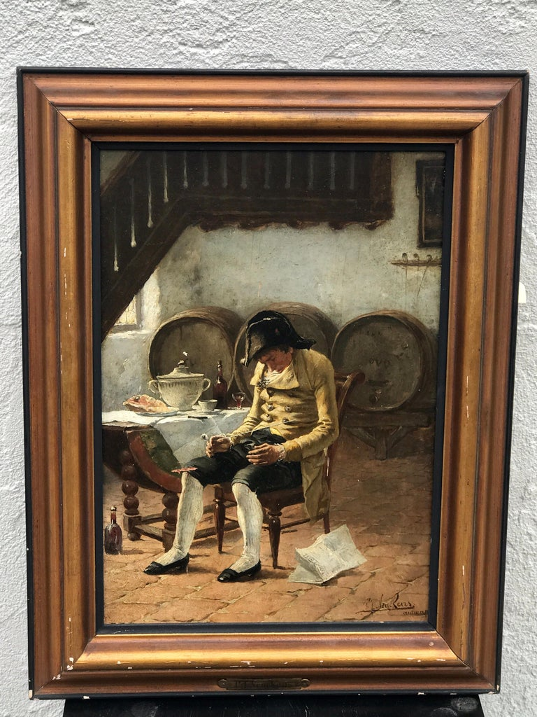 Antique Dutch Old Master interior painting by PJ Neuckens