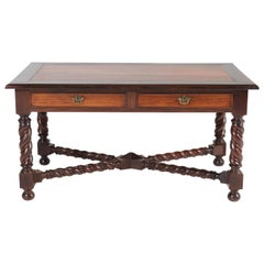 Antique Dutch Padouk Jacobean Style Writing Table, 1880s