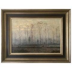 Antique Dutch Painting, Frans Slager, Dutch Landscape, 1950