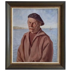 Antique Dutch Painting, Pijnenburg, 1884-1968, French, Fisherman