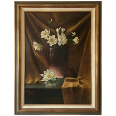 Antique Dutch Painting, Pijnenburg, Water Lilies in Vase, Oil on Canvas, 1902