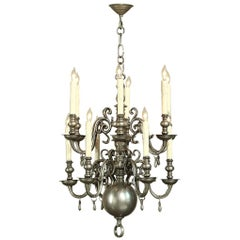 Antique Dutch Pewter 12-Light Chandelier