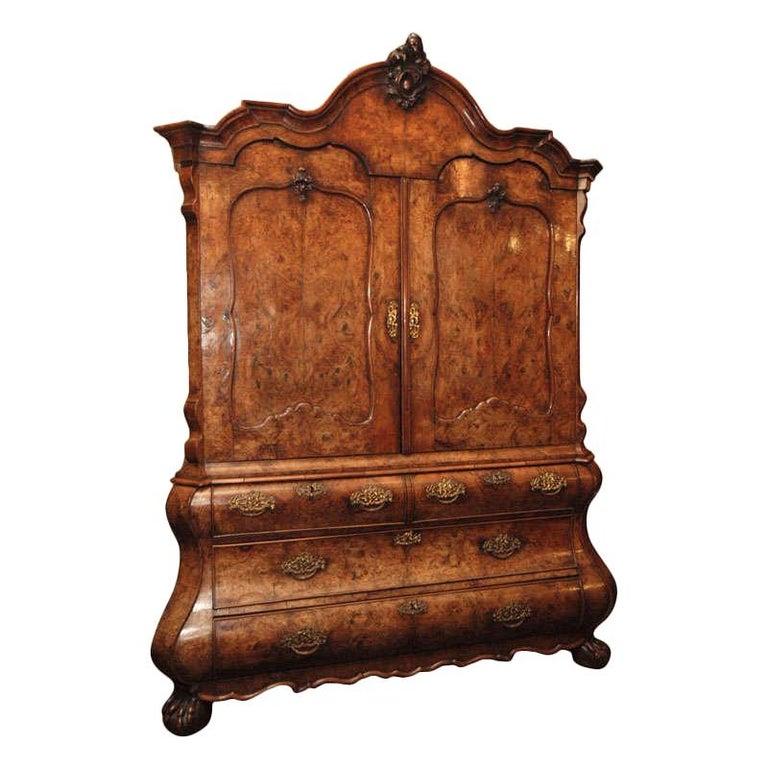 Antique Dutch Queen Anne Burled Walnut Cabinet For Sale