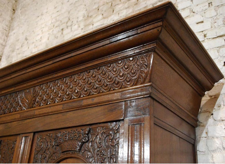 Antique Dutch Renaissance Oak  Cabinet For Sale 6