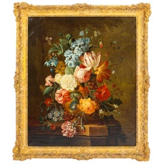 Antique Dutch School Floral Still Life Oil Painting Framed, Late 18th Century