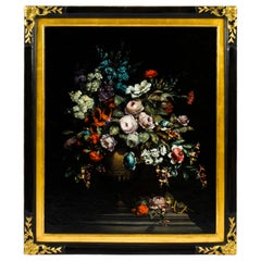 Antique Dutch School Floral Still Life Oil Painting Framed Late 19th Century