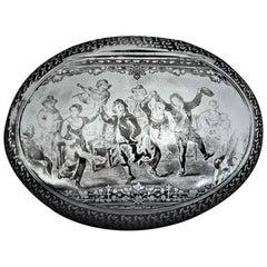 Antique Dutch Silver Niello Oval Snuff Box, circa 1825