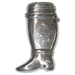 Antique Dutch Silver Vesta Case in the Shape of an Officers Boot, circa 1870