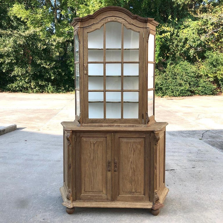 Hand-Crafted Antique Dutch Stripped Oak Bookcase For Sale