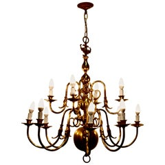 Antique Dutch Style Twelve Branch Two-Tier Brass Chandelier