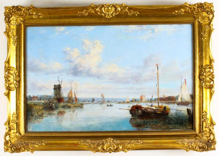 Antique Dutch Waterscape Oil Painting Circle of Pieter Cornelis Dommersen, 19thC For Sale 12