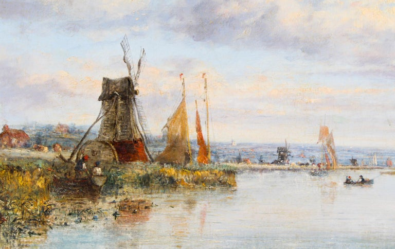 A beautiful oil on canvas waterscape painting, from the circle of Pieter Cornelis Dommersen, 19th century in date.  The sensitively painted waterscape shows a busy river scene in the Dutch country side. The painting has a captivating illuminating