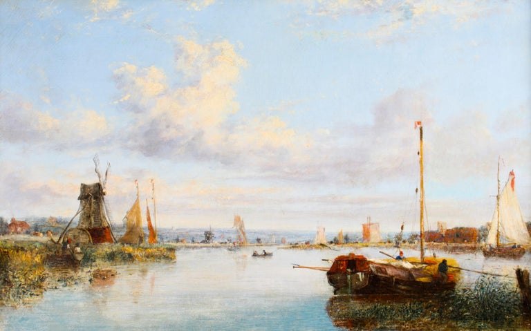 Antique Dutch Waterscape Oil Painting Circle of Pieter Cornelis Dommersen, 19thC In Good Condition For Sale In London, GB