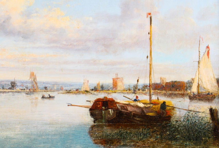 Canvas Antique Dutch Waterscape Oil Painting Circle of Pieter Cornelis Dommersen, 19thC For Sale