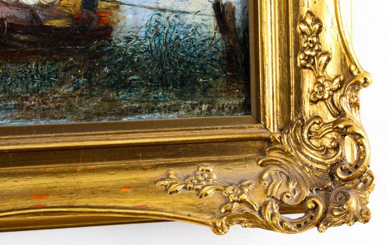 Antique Dutch Waterscape Oil Painting Circle of Pieter Cornelis Dommersen, 19thC For Sale 4